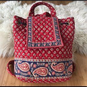 Vera Bradley Americana Red Backpack EUC